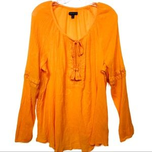 Lane Bryant orange boho peasant blouse 18/20 EUC